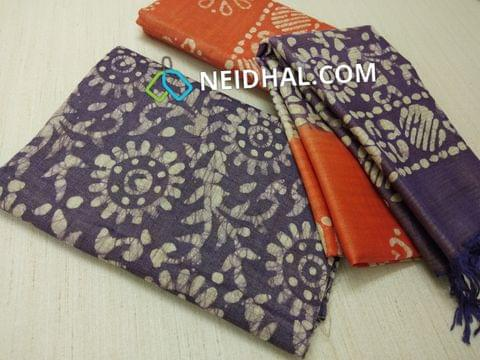 Batik Printed Blueish Purple Bhagalpuri cotton silk(thick fabric, lining not required), Orange Bhagalpuri cotton silk with prints at bottom side, Dual color Bhagalpuri Cotton silk dupatta with batick prints and tassels.