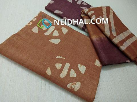 Batik Printed Brown Bhagalpuri cotton silk(thick fabric, lining not required), Maroonish Red Bhagalpuri cotton silk with prints at bottom side, Dual color Bhagalpuri Cotton silk dupatta with batick prints and tassels.