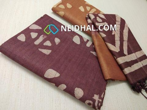 Batik Printed Maroon Bhagalpuri cotton silk(thick fabric, lining not required), Brown Bhagalpuri cotton silk with prints at bottom side, Dual color Bhagalpuri Cotton silk dupatta with batick prints and tassels.