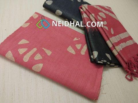 Batik Printed Pink  Bhagalpuri cotton silk(thick fabric, lining not required), Black Bhagalpuri cotton silk with prints at bottom side, Dual color Bhagalpuri Cotton silk dupatta with batick prints and tassels.