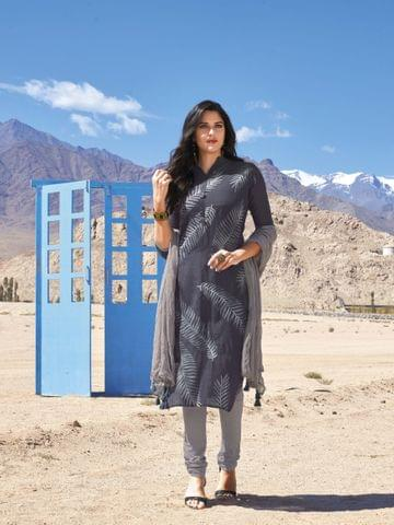 Designer Grey Masleen Silk Unstitched salwar material(requires lining) with prints on front side, sequins and bead work on buttons, Heavy patch bead and pipe work on back side, Cement grey drum dyed cotton bottom, Cement grey chiffon dupatta with dew drops work and taping.
