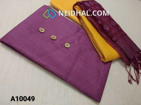 CODE A10049 : Beetroot Purple Fancy Kota Silk cotton unstitched salwar material(requires lining) with wooden buttons, Yellow fancy thin silk cotton bottom, Oraganza dupatta with thread work and tassles