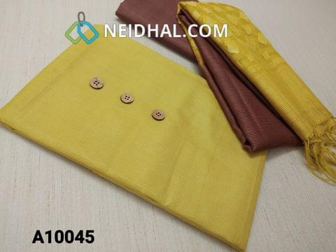 CODE A10045 : Mehandi Yellow ancy Kota Silk cotton unstitched salwar material(requires lining) with wooden buttons, Brown fancy thin silk cotton bottom, Oraganza dupatta with thread work and tassles