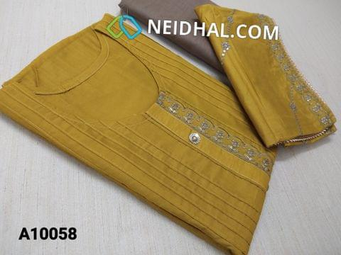 CODE A10058 : Mehandi Yellow Soft thin Silk Cotton unstitched salwar material(requires lining) with Sequins buttons, sequins work on yoke, pintuk work on front side, Brown  drum dyed soft and thin bottom, Heavy sequins and thred  work on soft silk cotton short width dupatt with heavy work taping