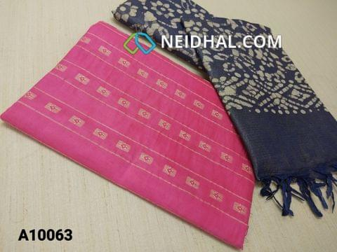 CODE A10063 : Pink Jaquard Silk cotton Unstitched Salwar material(requires lining) with Blue batik dyed Bhagalpuri Cotton Silk bottom,  Blue batik dyed Bhagalpuri Cotton Silk dupatta with tassels.