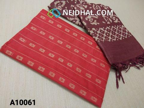 CODE A10061 : Red Jaquard Silk cotton Unstitched Salwar material(requires lining) with Purple maroon dyed Bhagalpuri Cotton Silk bottom,  Maroon batik dyed Bhagalpuri Cotton Silk dupatta with tassels.