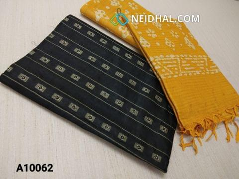 CODE A10062 : Black Jaquard Silk cotton Unstitched Salwar material(requires lining) Yellow batik dyed Bhagalpuri Cotton Silk bottom, Yellow batik dyed Bhagalpuri Cotton Silk dupatta with tassels.