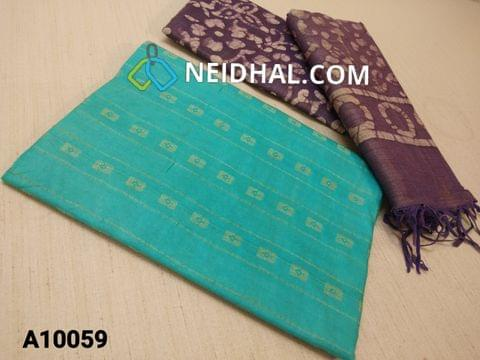 CODE A10059 : Aqua Blue Jaquard Silk cotton Unstitched Salwar material(requires lining) Purple batik dyed Bhagalpuri Cotton Silk bottom, Purple batik dyed Bhagalpuri Cotton Silk dupatta with tassels.