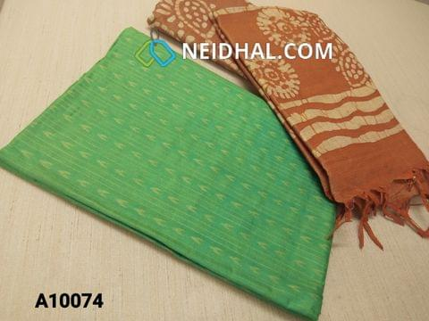 CODE A10074 : Green Jaquard Silk cotton Unstitched Salwar material(requires lining) with Brown batik dyed Bhagalpuri Cotton Silk bottom,  Brown batik dyed Bhagalpuri Cotton Silk dupatta with tassels.(TOP DESIGN DIFFERENT IN VIDEO)