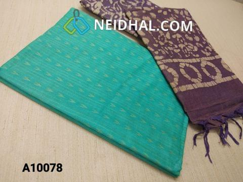 CODE A10078 : Aqua Blue Jaquard Silk cotton Unstitched Salwar material(requires lining) Purple batik dyed Bhagalpuri Cotton Silk bottom, Purple batik dyed Bhagalpuri Cotton Silk dupatta with tassels.(TOP DESIGN DIFFERENT IN VIDEO)