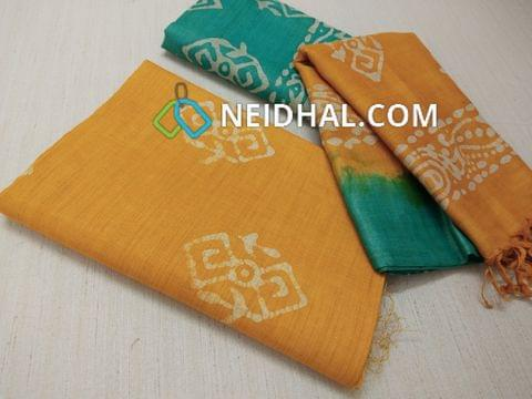 Batik Printed Yellow  Bhagalpuri cotton silk(thick fabric, lining not required), Green Bhagalpuri cotton silk with prints at bottom side, Dual color Bhagalpuri Cotton silk dupatta with batick prints and tassels.