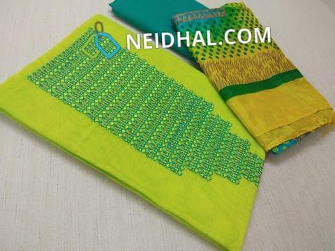 Neon Green Silk  Cotton Unstitched salwar material(requires lining) with  thread ,bead  work on yoke, green cotton bottom, Block printed multi color silk cotton dupatta with tapings