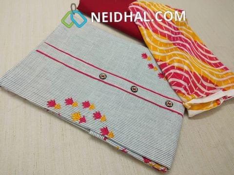 Cotton Unstitched Salwar material(requires lining) with thread work on yoke, Red cotton bottom, printed colorful dupatta with taping