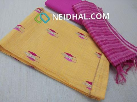 Yellow Silk Cotton unstitched Salwar material(requires lining) with thread and zari work on front side, plain back, pink cotton bottom, Silk cotton dupatta with tassels