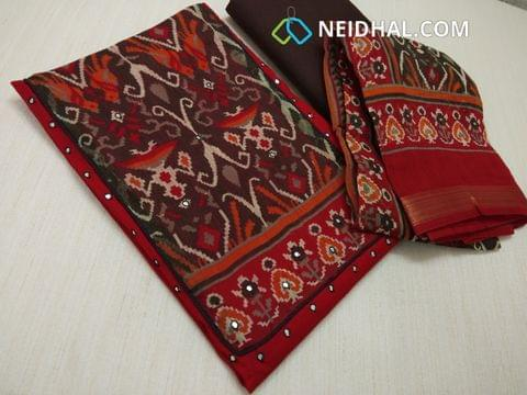 Red Slub Cotton unstitched salwar material with digital print on yoke, Faux Mirror work on yoke and front side, plain back, Brown cotton bottom, digital printed silk cotton dupatta with zari border.(requires taping)