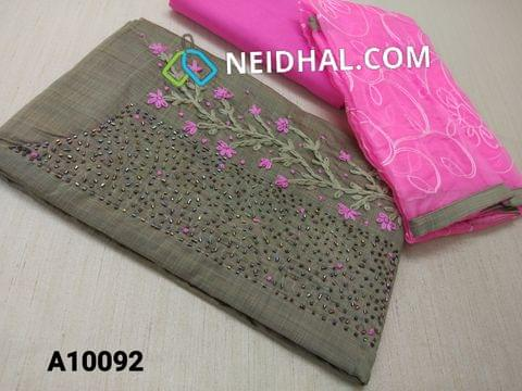 CODE A10092 : Silver Grey Silk cotton unstitched Salwar material(requires lining) with Thread work, French knot work, Pipe work on yoke, Pink  cotton bottom, Thread work on super net dupatta with taping