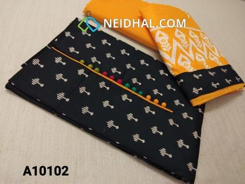 CODE A10102 : Black printed Soft Cotton(requires lining) unstitched Salwar material with potli buttons, Yellow cotton bottom, Printed thin cotton dupatta with taping