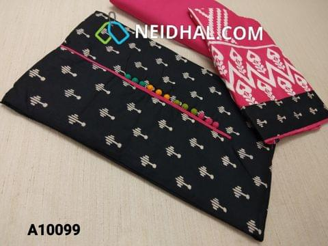 CODE A10099 : Black printed Soft Cotton(requires lining) unstitched Salwar material with potli buttons, Pink cotton bottom, Printed thin cotton dupatta with taping