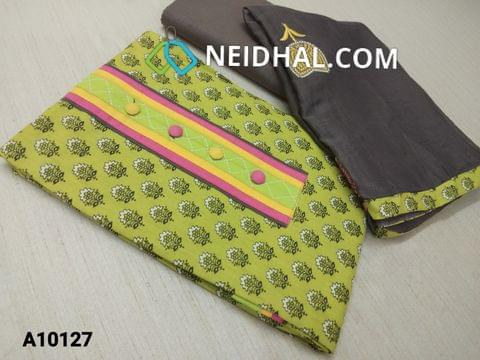 CODE A10127 : Printed Light Green Cotton unstitched Salwar material(requires lining) with buttons on yoke, cotton bottom, embroidery work on chiffon dupatta with tapings.