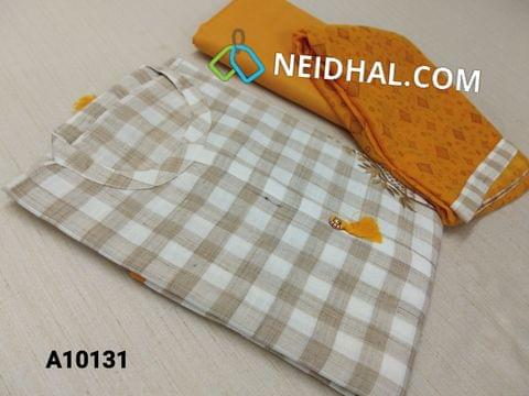 CODE A10131 : Printed checked Cotton unstitched Salwar material(requires lining) with buttons on yoke, neck stitch, yellow cotton bottom, printed yellow chiffon dupatta with tapings.