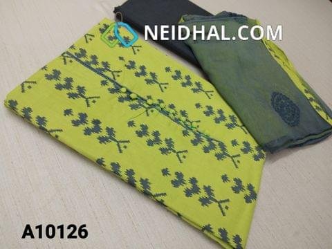 CODE A10126 : Printed Green Cotton unstitched Salwar material(requires lining) with potli buttons on yoke, cotton bottom, embroidery work on chiffon dupatta with tapings.