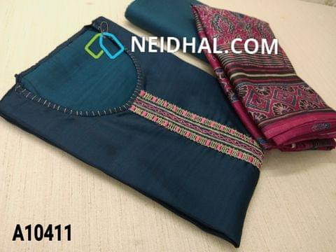 CODE A10411 : Designer Blue Russian Silk unstitched salwar material(requires lining) with thread, zari thread work on yoke, blue taffeta bottom, Digital printed silk cotton dupatta with tapings