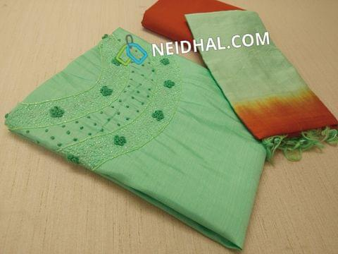 Green Silk Cotton UnStitched (requires lining) salwar material with french knot and pipe work on yoke, orange cotton bottom, dual color silk cotton dupatta with tapings