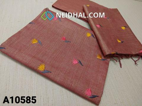 CODE A10585 :  Premium Brownish Pink Semi Tussar unstitched salwar material(requires lining) with colourful embroidery work on front side, plainback side, brownish pink taffeta bottom, colourful embroidery work on semi tussar dupatta with tassels.