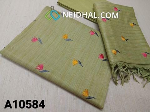 CODE A10584 :  Premium Green Semi Tussar unstitched salwar material(requires lining) with colourful embroidery work on front side, plainback side, green taffeta bottom, colourful embroidery work on semi tussar dupatta with tassels.