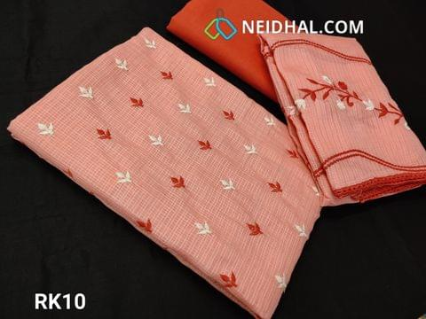 CODE RK10 : Light Peach Fancy Kota Salwar material(net fabric requires lining) With heavy thread work on front side, Plain back, Dark peach Cotton Bottom, Fancy Kota with Embroidery work and lace taping on all sides