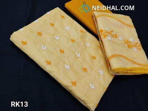 CODE RK13 : Light Yellow Fancy Kota Salwar material(net fabric requires lining) With heavy thread work on front side, Plain back, Yellow Cotton Bottom, Fancy Kota with Embroidery work and lace taping on all sides
