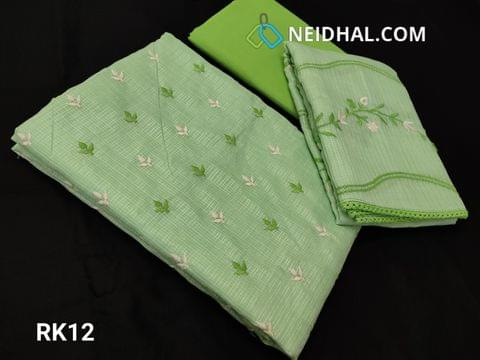 CODE RK12 : Pista Green Fancy Kota Salwar material(net fabric requires lining) With heavy thread work on front side, Plain back, Green Cotton Bottom, Fancy Kota with Embroidery work and lace taping on all sides