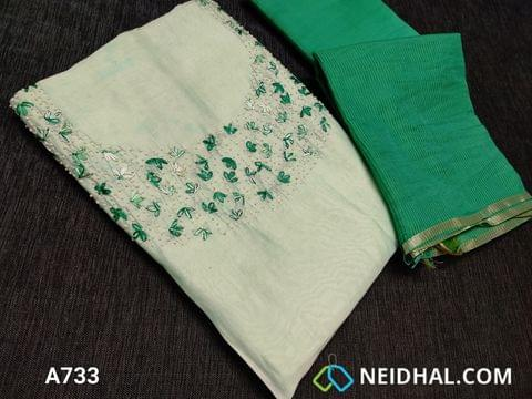CODE A733 : Designer Green Soft Silk Cotton unstitched Salwar material(requires lining) with Heavy thread embroidery and bead work on yoke, Green Satin cotton bottom, Silk Cotton dupatta (requires taping)