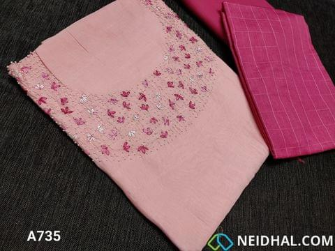 CODE A735 : Designer Pink Soft Silk Cotton unstitched Salwar material(requires lining) with Heavy thread embroidery and bead work on yoke, Green Satin cotton bottom, Silk Cotton dupatta (requires taping)