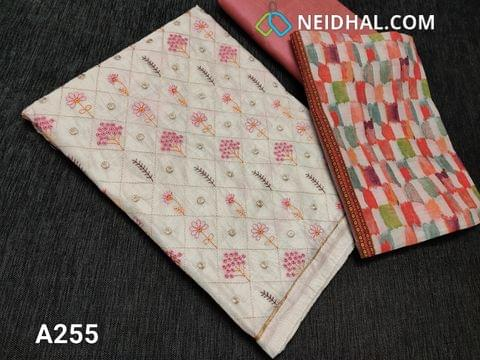 CODE LA255 : Designer Half White Silk cotton Salwar material(thin fabric requires taping) Colorful embroidery work on front side, Golden piping in daman, plain back, Pink Silk cotton bottom, Multicolor digital printed silk cotton dupatta