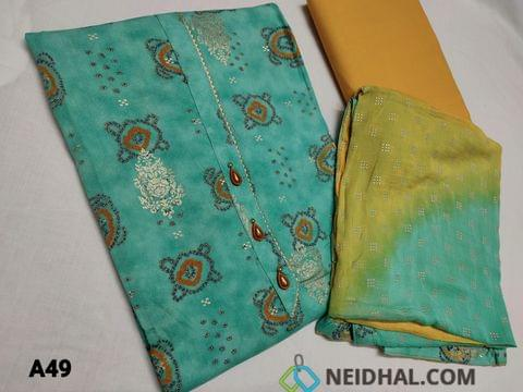CODE M49 :  Printed Sea Green Rayon unstitched Salwar material(smooth and flowy fabric) lace work and fancy buttons on yoke, lace work on daman, golden prints, Light fenu greek cotton bottom, Dual shaded chiffon dupatta with embossed foil work and tapings