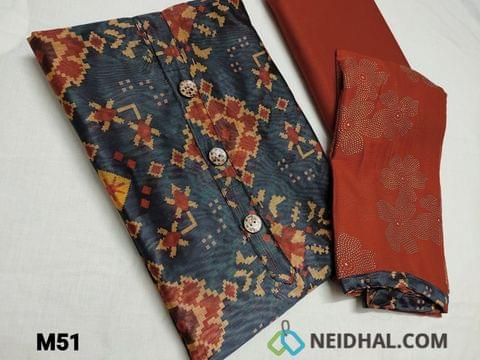 CODE M51 :  Premium Digital Printed Blue Silk Cotton UnStitched salwar material (requires lining) with buttons on yoke, Brick Red cotton bottom, Golden dew drops work on chiffon dupatta with tapings