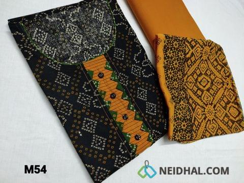CODE M54 :  Bandhani printed Black cotton unstitched Salwar material(requires lining) round neck, yoke patch with fancy buttons, Fenu Greek Yellow cotton bottom, Block printed Yellow chiffon dupatta(TAPING NEEDS TO BE STITCHED)