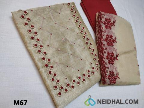 CODE M67 : Designer Biege Jaquard Silk Cotton unstitched Salwar material(coarse fabric requires lining) with bullion rose work and french knot work on yoke, red silk cotton bottom, Organza dupatta with heavy thread work and cut work tapings.