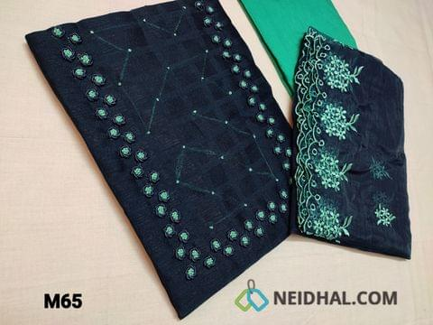 CODE M65 : Designer Navy Blue Jaquard Silk Cotton unstitched Salwar material(coarse fabric requires lining) with bullion rose work and french knot work on yoke, Turquoise Green silk cotton bottom, Organza dupatta with heavy thread work and cut work tapings.