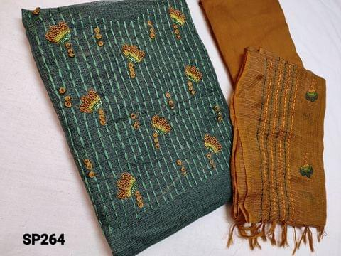 CODE SP264 : Designer Green Accord Fabric Unstitched salwar material(coarse and stiff fabric, requires lining) Heavy thread, French Knot and cut bead work on yoke, Honey Brown Silk cotton Bottom, Kota dupatta with heavy thread work