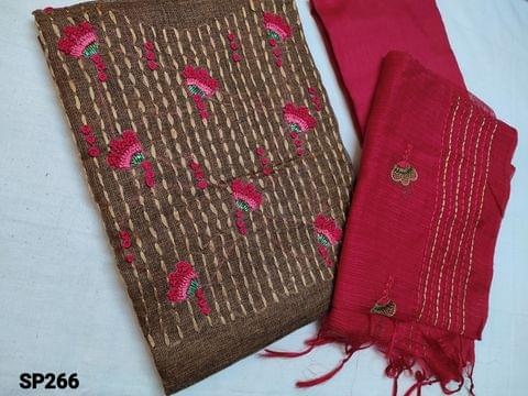 CODE SP266 : Designer Brown Accord Fabric Unstitched salwar material(coarse and stiff fabric, requires lining) Heavy thread, French Knot and cut bead work on yoke, Red Silk cotton Bottom, Kota dupatta with heavy thread work