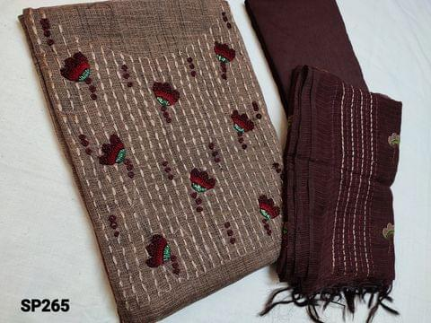 CODE SP265 : Designer Light Coffee Brown Accord Fabric Unstitched salwar material(coarse and stiff fabric, requires lining) Heavy thread, French Knot and cut bead work on yoke, Maroon Silk cotton Bottom, Kota dupatta with heavy thread work