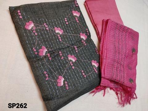 CODE SP262 : Designer Grey Accord Fabric Unstitched salwar material(coarse and stiff fabric, requires lining) Heavy thread, French Knot and cut bead work on yoke, Pink Silk cotton Bottom, Kota dupatta with heavy thread work