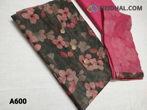 CODE A600 : Premium Digital Printed Grey Silk Cotton UnStitched salwar material (thin fabric requires lining) with buttons on yoke, Pink cotton bottom, Golden dew drops work on chiffon dupatta with tapings