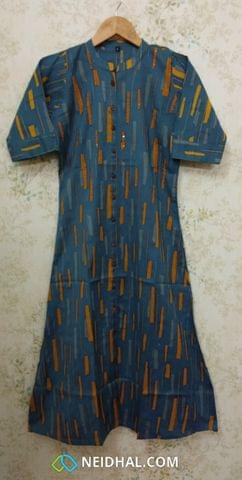 Printed Blue Cotton Kurti with thread and sequence work, Front open placket(2 buttons) (Refer Size chart, 2nd pic before ordering, No Refund, No Return, No exchange, No cancellation), Mandarin collar, Height 44, 3/4 sleeves with flaps, front and side slits.
