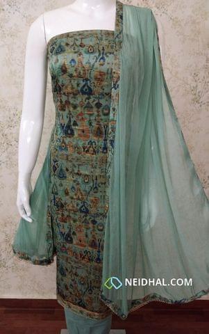 Digital Printed Blue Satin Cotton unstitched salwar material, Greyish Blue cotton bottom, printed Greyish Blue chiffon dupatta with tapings