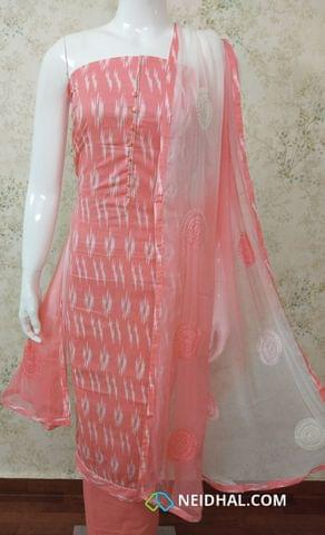 Printed Peach Cotton Unstitched salwar material With potli buttons on yoke, peach cotton bottom, embroidery work on  dual color chiffon dupatta with tappings.