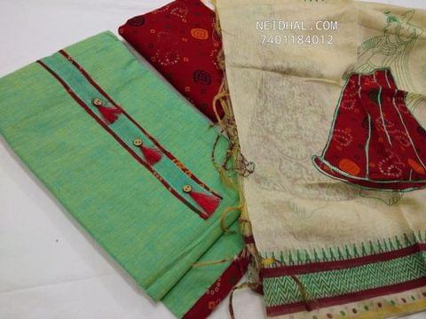 Green handloom cotton unstiched salwar material with neck pattern, printed cotton bottom, patch work on fancy silk cotton dupatta