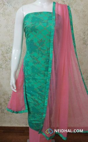 Printed Turquoise Green Slub Cotton Unstitched salwar material with Golden Prints, Foil mirror and beadd work on front side,  pink cotton bottom, Pink chiffon dupatta with tapings.